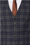 Navy Brown Bold Check Tailored Fit Suit