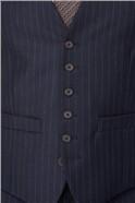 Navy Camel Stripe Tailored Fit Waistcoat
