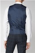 Navy Green Tartan Skinny Suit Waistcoat