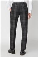 Black Grey Check Slim Fit Suit Trouser