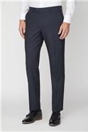 Navy Stripe Wool Regular Fit Suit Trousers