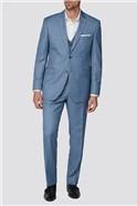 Light Blue Texture Regular Fit Suit Trousers