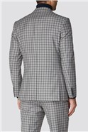 Grey Navy Check Tailored Fit Suit Jacket