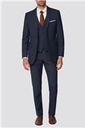 Mid Blue Tonal Check Regular Fit Suit