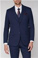Navy Hopsack Regular Fit Travel Suit