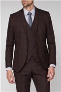 Burgundy Check Super Slim Fit Brit Suit