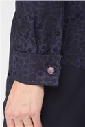 Black Large Black Floral Jacquard Shirt