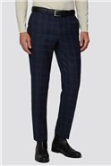 Navy Textured Check Regular Fit Suit Trouser