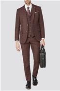 Burgundy Check Tweed Slim Fit Suit