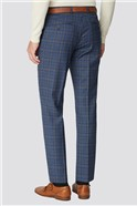 Alexandre Silver Blue Multi Check Regular Fit Trouser