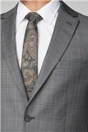 Grey Rust Check Regular Fit Suit Jacket