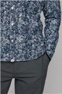 Sundsvall Navy Long Sleeve Abstract Dandelion Print Shirt