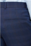 Navy Pink Bold Check Slim Fit Trousers