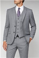 Grey Windowpane Check Tailored Fit Suit Trousers