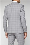Light Grey & Pink Checked Tailored Fit Trousers