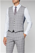 Light Grey & Pink Checked Tailored Fit Waistcoat