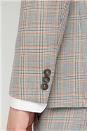 Grey Orange Prince of Wales Check Skinny Fit Trouser