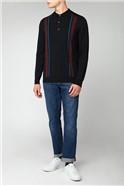Black Long Sleeve Mod Stripe Polo
