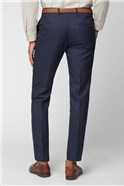 Navy Blue & Caramel Checked Slim Fit Suit Trousers