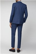 Navy Micro Check Slim Fit Suit Trousers