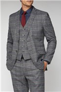 Charcoal & Blue Checked Suit Jacket