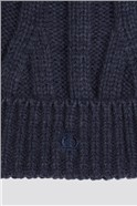 Navy Cable Knit Beanie