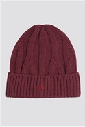 Burgundy Cable Knit Beanie