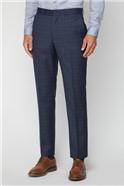 Deep Blue Caramel Check Regular Fit Suit Trouser