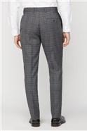 Grey Electric Blue Check Regular Fit Suit Trouser