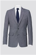 Blue Grey Textured Gingham Tailored Fit Suit Trouser