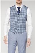 Blue Cream Gingham Waistcoat