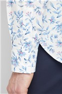 Casual White Sketch Floral Print Shirt