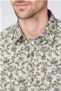 Casual Berry Mandala Floral Print Shirt