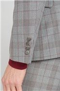 Studio Grey with Red Check Brit Super Slim Fit Waistcoat