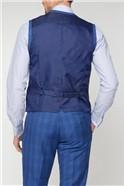 Stvdio Blue Summer Check Brit Super Slim Waistcoat