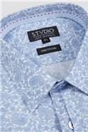 Stvdio Slim Fit Light Blue Line Paisley Shirt