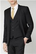 Black Textured Slim Fit Suit Trousers