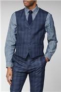 Blue Bold Check Slim Fit Waistcoat