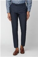 Navy Texture Skinny Fit Suit Trousers