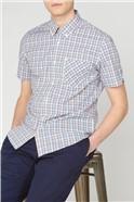 Mini Gradient Blue Red Check Shirt