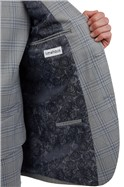 Cool Grey Blue Check Trouser