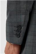 Regular Fit Grey Rust Check Suit