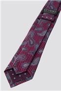 Stvdio by  Magenta Textured Paisley Tie