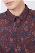 Retro Bordeaux Floral Shirt
