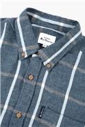 Dark Blue Herringbone Oversized Checked Shirt