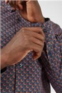 Retro '70s Caramel Geometric Print Shirt