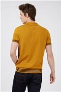 Mustard Yellow Knit Jacquard Polo Shirt