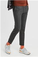 Grey Brushed Flannel Slim Fit Suit Trousers