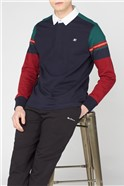 Navy Casual Striped Rugby Top