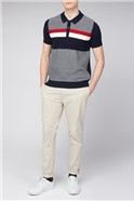 Red Navy Chest Stripe Textured Knit Polo